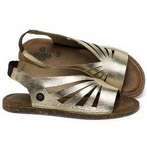 Rasteira Flat em couro Ouro Metalizado - Código - 141156
