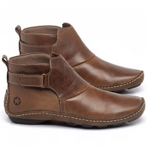 Flat Boot em couro Camel - Código - 136031