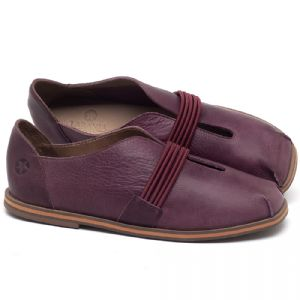 Flat Shoes em couro Açaí - Código - 3053