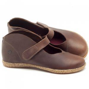 Flat Shoes em couro Marrom Telha - Código - 137168