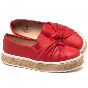 Tênis Cano Baixo em couro vermelho - Código - 9429
