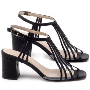 Sandália Salto médio de 6cm em couro preto - Codigo 3557