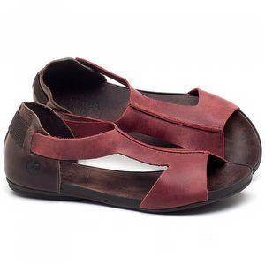 Rasteira Flat em couro Vermelho - Código - 137186