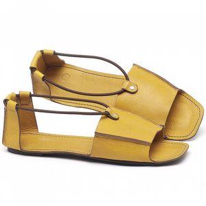 Rasteira Flat em couro Amarelo Citrus - Código - 3712