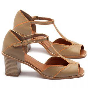 Sandália Salto Médio de 7cm em couro fendi com laranja - Código - 3523
