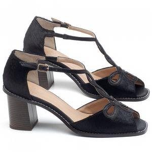 Sandália Salto Médio de 6cm em couro Preto - Código - 3573