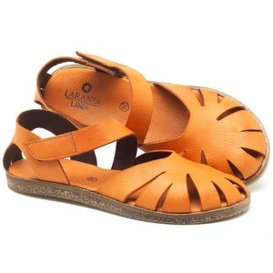 Rasteira Flat em couro laranja - Código - 141061