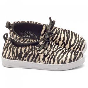 Tênis Cano Baixo em couro animal print zebra - Código - 99071