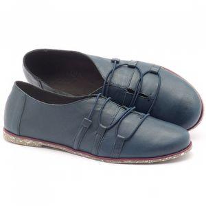 Tênis Cano Baixo em couro azul - Código - 145020