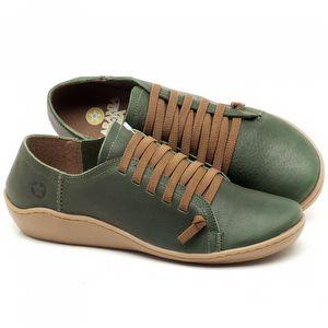 Flat Shoes em couro Verde Militar - Código - 139027