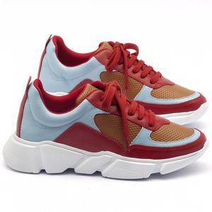 Tênis Cano Baixo em couro vermelho, celeste e caramelo - Código - 99063