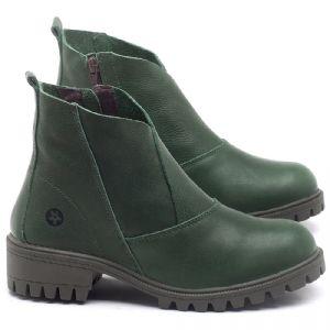 Bota Cano Curto em couro Verde - CÓDIGO - 137238