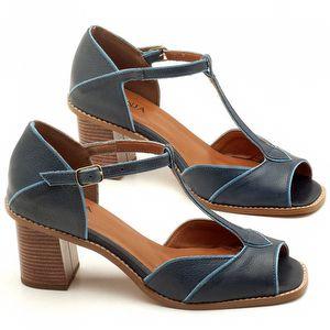 Sandália Salto 7cm em couro Azul Marinho - Código - 3603