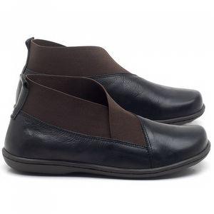 Flat Boot em couro Preto - Código - 56086
