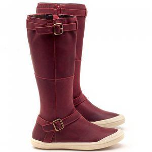 Bota Ankle Boot em couro Vinho - Código - 56164