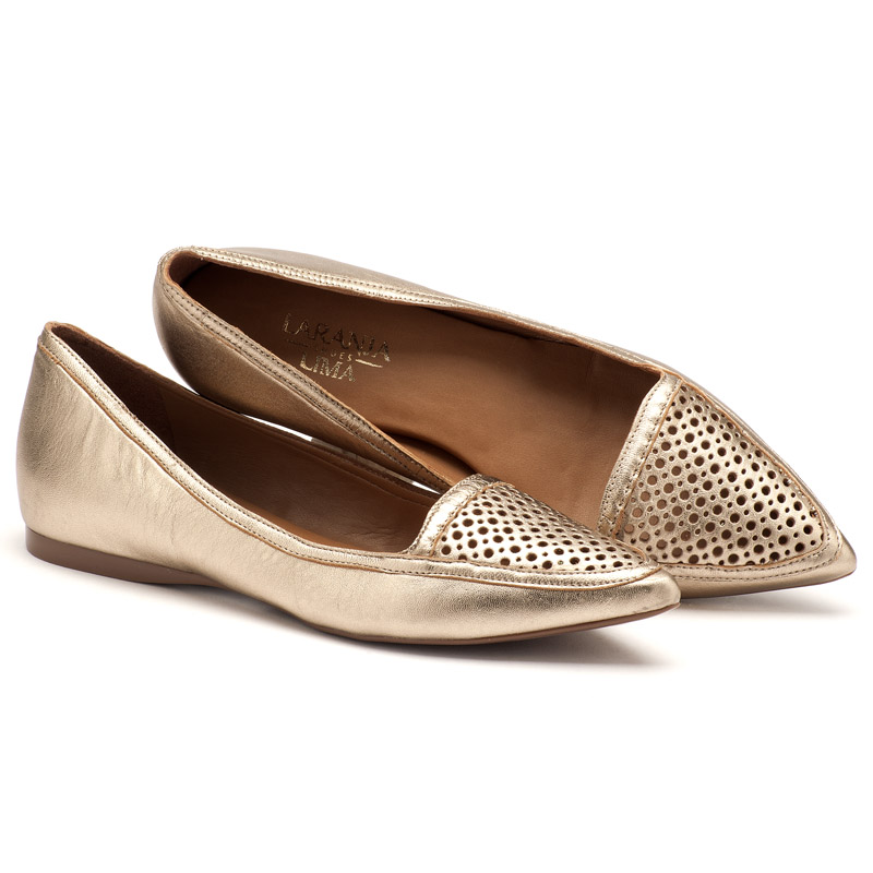 c8d53dea4 Sapatilha Bico Fechado Prata Velho Bico Fino 107084   Laranja Lima Shoes