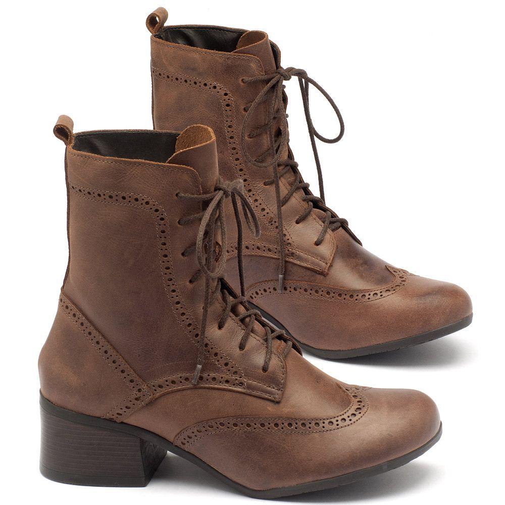 53dcb5b5c1 Bota Cano Curto em couro marrom - código - 137094 | Laranja Lima Shoes