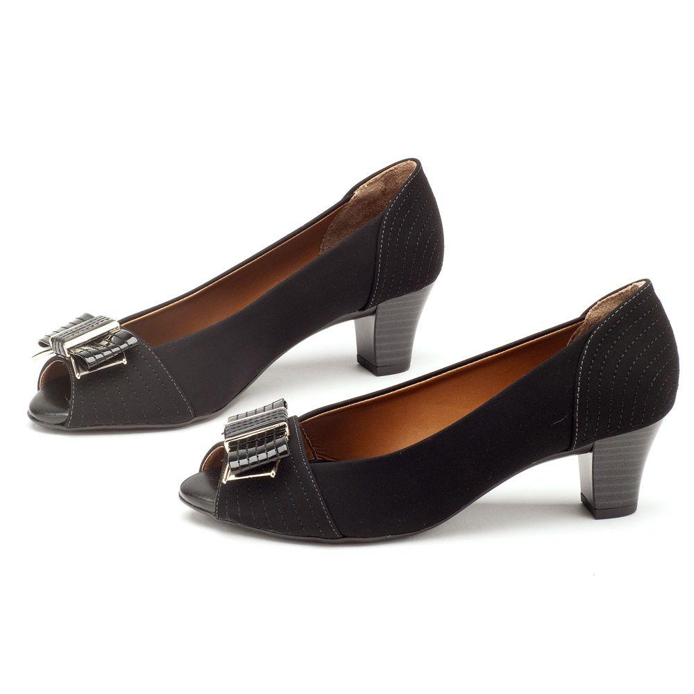 993fdb0c6 Peep Toe Salto Baixo Preto Salto de 5cm 102092 | Laranja Lima Shoes