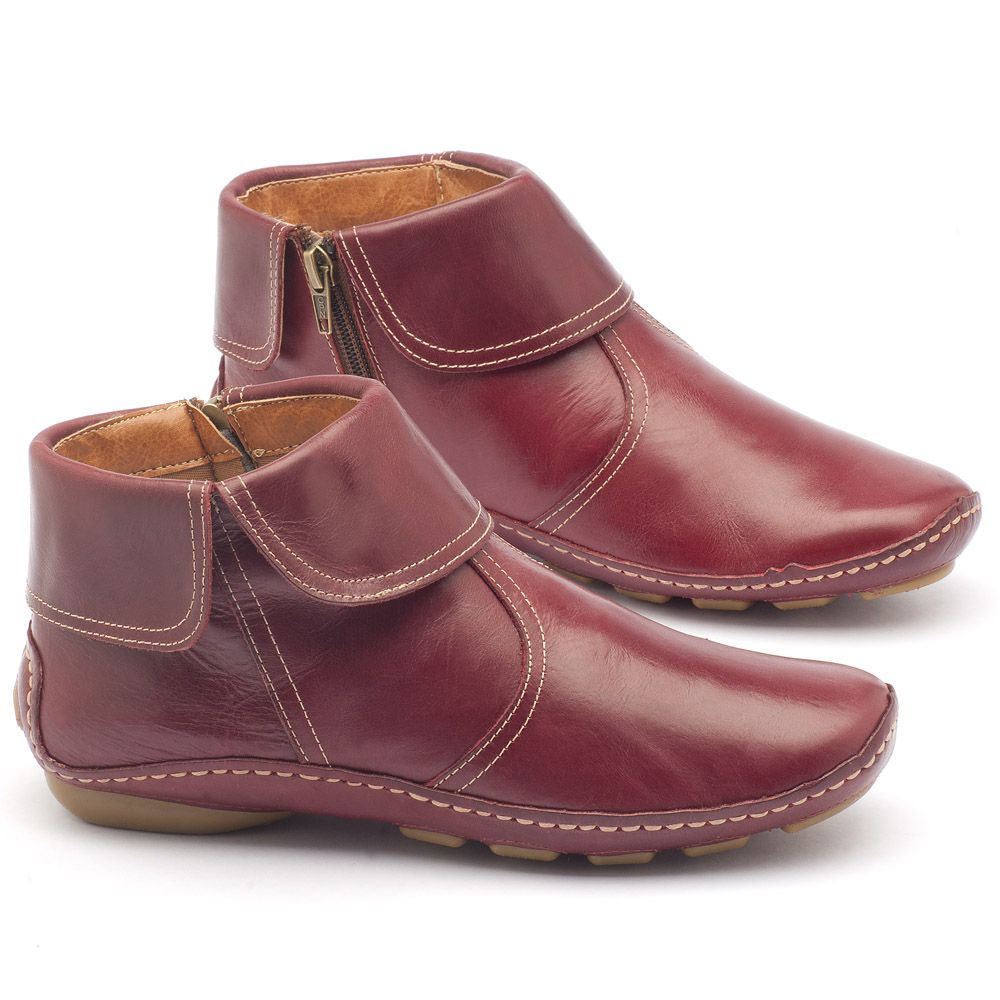 b2dec3f12 Bota Cano Curto em couro vinho - Código - 136065   Laranja Lima Shoes