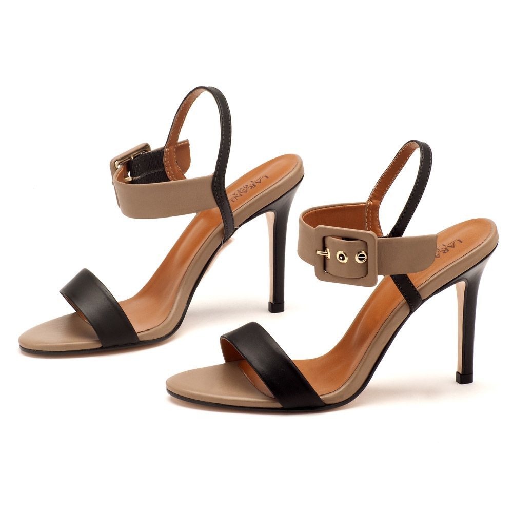 10946f348 Sandália Salto Alto Preto com Fendi Tira 102063 | Laranja Lima Shoes