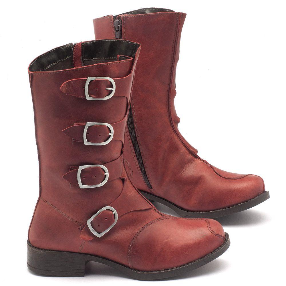 0a82fbd6cd Bota Cano Médio em couro vermelho - Código - 141028   Laranja Lima Shoes