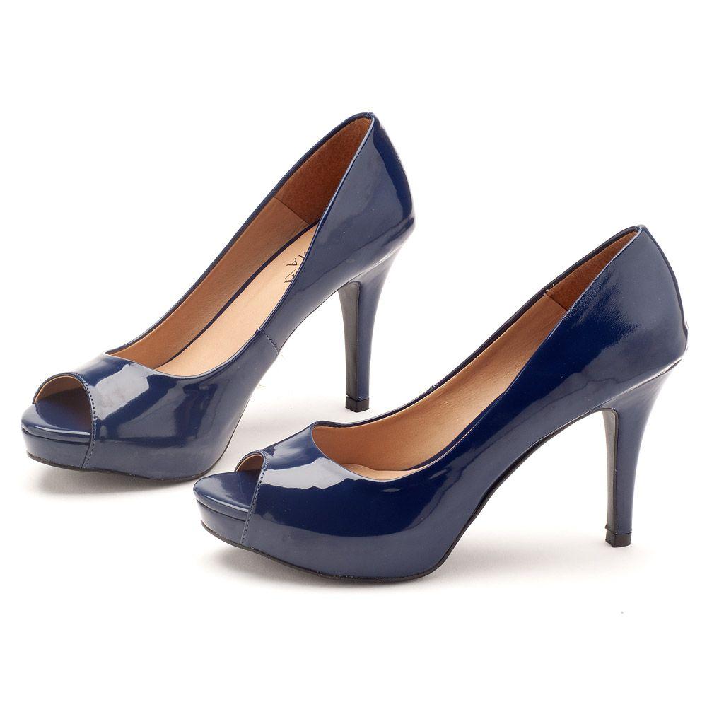 0c70f1ff4 Peep Toe Salto Alto de 10 cm Azul Marinho 9351