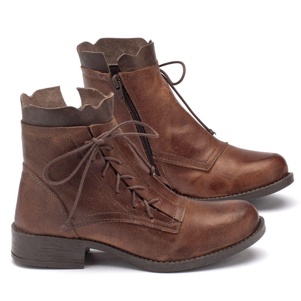 9544d3a027 Bota Cano Curto em couro marrom 141004   Laranja Lima Shoes