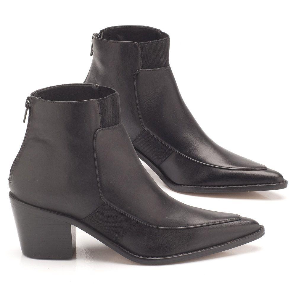 411a84cd0 Bota Cano Curto preta em couro salto de 6cm 107383 | Laranja Lima Shoes