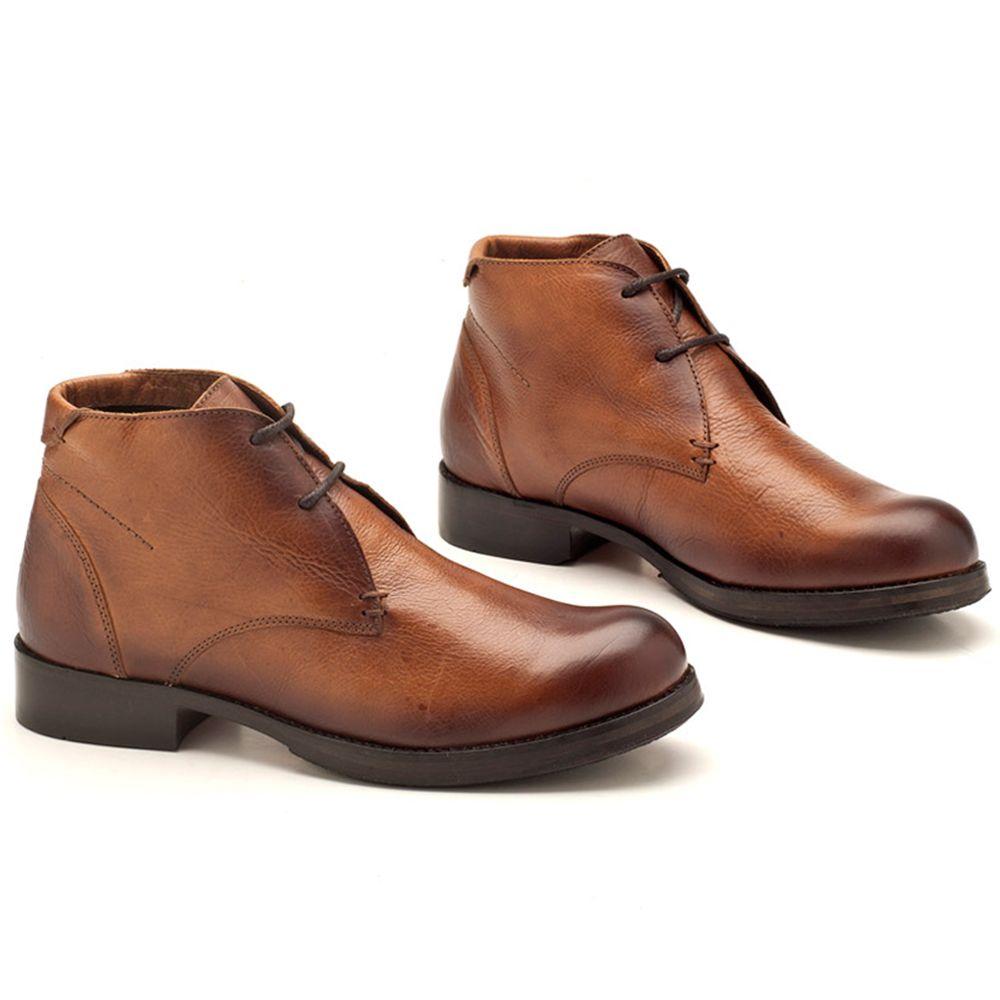893291fb0a Bota Masculino Cano Baixo Conhaque Amarração 122010 | Laranja Lima Shoes