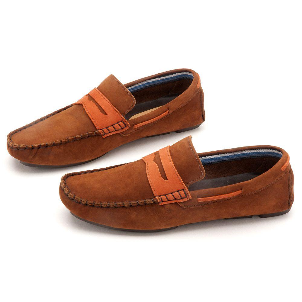 f547cb3b17421 Mocassim Masculino Casual Marrrom Gravata 133001   Laranja Lima Shoes