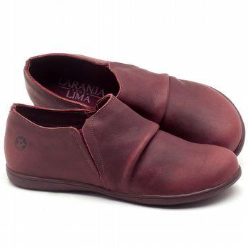 Flat Shoes em couro Vinho - Código - 137153