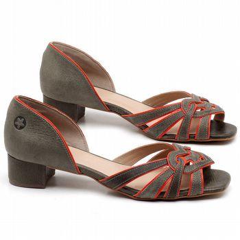 Sandália Salto de 4cm em couro Musgo - Código - 3638