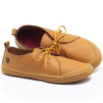 Tênis Cano Baixo em couro Amarelo - Código - 141076