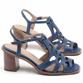 Sandália Salto Médio de 6cm em Couro Azul Bic - Código - 3508