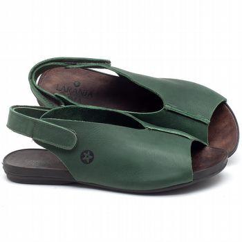 Rasteira Flat em couro Verde Militar - Código - 137205