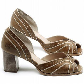 Sandália Salto Médio de 6cm em couro Marrom Conhaque - Código - 3633