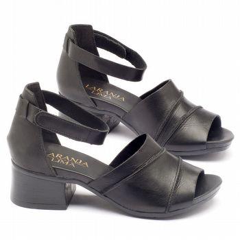 Sandália Boho em couro preto com salto de 5cm - 137079