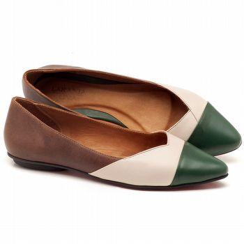 Sapatilha Bico Fechado em couro marrom, branco e verde - Código - 56120