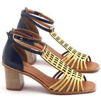 Sandália Salto médio de 6cm em couro amarelo e havana - Código - 3551