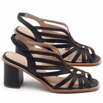 Sandália Salto Médio 6cm em Couro Preto com Marrom Conhaque - C[odigo - 3647