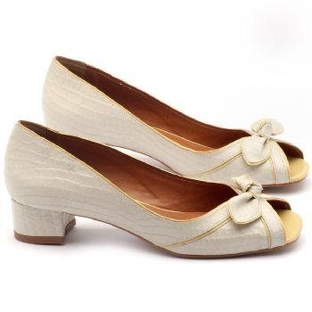 Peep Toe Salto Medio de 6cm em couro off-white com vivos amarelo - Código - 3473