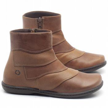 Flat Boot em couro Caramelo - Código - 56076
