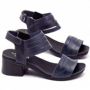Sandália Boho em couro azul com salto de 5cm - Código - 137141