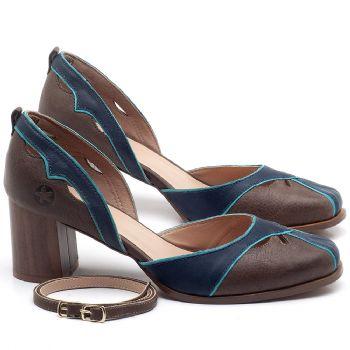 Scarpin Salto Médio de 6cm em couro Azul com Café - Código - 3673