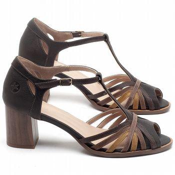 Sandália Salto Médio de 6cm em couro Marrom Chocolate - Código - 3697