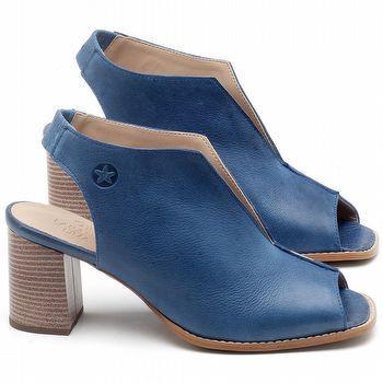 Sandália Salto Médio de 6cm em Couro Azul Bic - Código - 3632