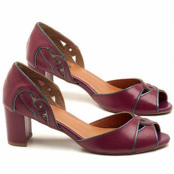 Peep Toe Salto Medio de 6cm em couro Vinho Amora - Código - 3437