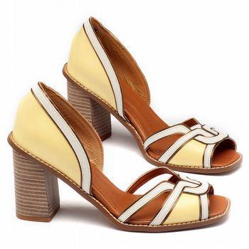 Sandália Salto médio de 9cm em couro amarelo - 3476