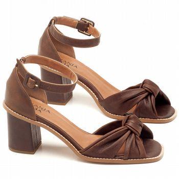 Sandália Salto de 6cm em couro Marrom Telha - Código - 3606