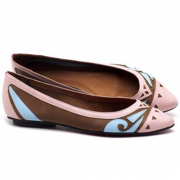 Sapatilha Bico Fino em couro Rosa, Conhaque e Azul - Código - 56175